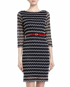 Belted Sequined Zigzag Crochet Dress, Navy by Sharagano at Neiman Marcus Last Call.
