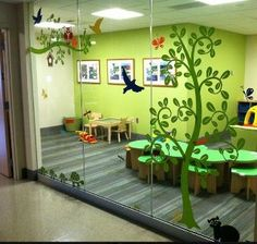 Children's Library....trees painted on glass