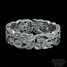 18kt White Gold Diamond Fl Beverley K Wedding Band Along The Leafs Are Fine Crafted Detail Migrain Design Ring Measures 5 5mm In Width And Is Set