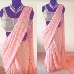 Price :- 800 only We have attractive price range with good quality products for Kindly feel free to contact us for further information We deliver orders in all over we are accepting on & modes are Indian Bridesmaid Dresses, Indian Dresses, Indian Outfits, Simple Sarees, Trendy Sarees, Peach Saree, Pink Saree, Sarees For Girls, Sari Blouse Designs