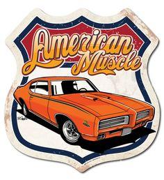Hot Rod Car Art - American Muscle - 1969 GTO Muscle Car Metal Street Sign, $45.00 (http://www.hotrodcarart.com/american-muscle-1969-gto-muscle-car-metal-street-sign/)
