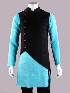 Get the new stylish look in this layered Koti. Cotton Silk Black fancy Koti is embellished with fancy buttons. #MensFashion #MensFashionIndian