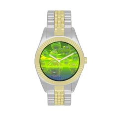 Field of Clarity, Abstract Yellow Green Ocean Wristwatches