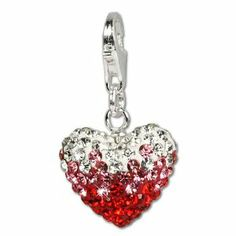 SilberDream Glitter Charm Swarowski Elements heart red ICE , 925 Sterling Silver Charms Pendant with Lobster Clasp for Charms Bracelet, Necklace or Earring GSC002 SilberDream Tinsel. $20.95. Save 26% Off!