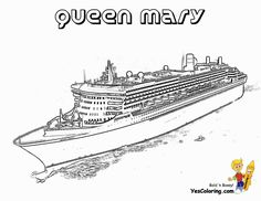 Be in a hurry for extravagant Coloring Page Cruise Ships. Print out these cruise ship coloring pictures of luxury ocean liner ships like the Titanic, Queen Victoria, Crown Princess, Queen Mary. Fruit Coloring Pages, Barbie Coloring Pages, Easy Coloring Pages, Coloring Pages For Kids, Coloring Books, Colouring, Titanic Drawing, Cruise Ship Pictures, Fathers Day Coloring Page