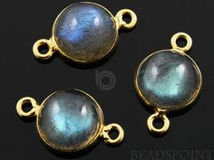 Natural Labradorite Bezel Round Component 24K Gold by Beadspoint, $12.99