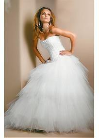Elegant and Lovely Tulle Strapless ballgown Wedding Dress #Dressilyme