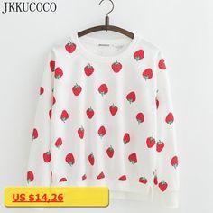 JKKUCOCO Newest Women sweatshirts Printed Strawberry Casual Sweatshirt Women hoodies Long batwing sleeve O-neck Cotton Pullovers