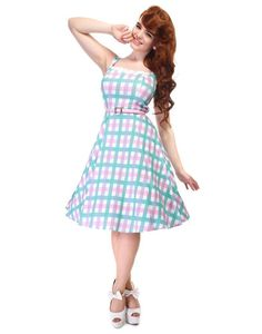 Chloe COLLECTIF Retro Candy Gingham Swing Dress