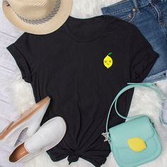 Smiling Lemon T-Shirt, Unisex T-Shirt, Pocket Print T-Shirt, Graphic Tee, Pocket T-Shirt, Citrus T-Shirt, Lemon T-Shirt, by FunTeazz on Etsy Suits You, Cool T Shirts, Graphic Tees, Lemon, Pocket, Unisex, Trending Outfits, Fun, Etsy