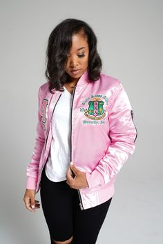 A Divine Creations Original and EXCLUSIVE Satin bomber jacket. Satin on the outside AND satin on the inside.Runs true to WOMEN'S sizing (regular fit). Sizing up is only recommended for a desired loose fit. Aka Sorority Gifts, Alpha Kappa Alpha Sorority, Sorority Outfits, Sorority Fashion, Greek Clothing, Clothing Co, Alpha Kappa Alpha Paraphernalia, Black Girl Shirts, Satin Bomber Jacket