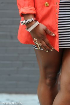 black and white stripes with coral