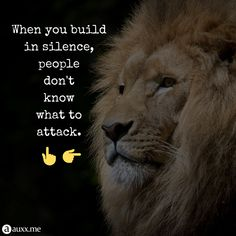 When you build in silence,people don't know what to attack. Lion, Life Quotes, Inspirational Quotes, Motivation, Iphone, Wallpaper, Words, Artist, People