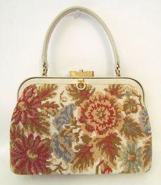 Vintage 1950s Morris Moskowitz Tapestry Needlepoint Handbag