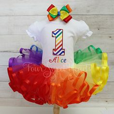 Rainbow Birthday Outfit Over the Rainbow Outfit Wizard of Oz Crayon Birthday Parties, Birthday Party Outfits, Rainbow Birthday Party, Circus Birthday, Toy Story Birthday, Baby First Birthday, Girl Birthday, Birthday Ideas, Rainbow Unicorn Party