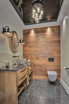 A water room worthy of a living room. The marriage between the modern of the stretched ceiling, the wood on the wall and the furniture, with a touch of natur … - New Site Modern Bathrooms Interior, Modern Bathroom Decor, Bathroom Design Small, Bathroom Wall Decor, Contemporary Bathrooms, Bathroom Styling, Kitchen Interior, Bathroom Interior Design, Bathroom Ideas