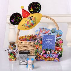 19 Ways To Throw Your Kid The Ultimate Birthday At Disneyland If you stay at one of the Disneyland Resorts hotels you can surprise your birthday kid with a Happy Birthday basket. Cute Birthday Ideas, Creative Birthday Gifts, Happy Birthday, Disneyland Resort Hotel, Disneyland Tips, Disney Tips, Disneyland Birthday, Disney Birthday, Authorized Disney Vacation Planner