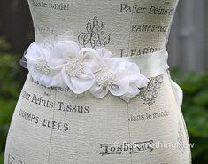 Wedding Dress sash, Silk organza flowers and pearls wedding dress sash/belt
