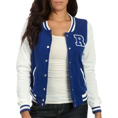 "Baseball ""R"" Applique Jacket ($30) ❤ liked on Polyvore"