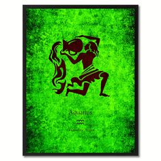 """Aquarius Horoscope Astrology Green Canvas Print, Black Custom Frame. SpotColorArt.com       Team@SpotColorArt.com  We Have Over 20,000 NEW Art Design. Beautiful Home Decor,  """"New"""" Trends in Art , Inspirational Quotes, Motivational Art.  Hand Made in USA.  Update your home décor with stylish, Framed Art, Custom Made Canvas Art!  They come available in an incredible range of vibrant colors, sizes and designs to choose from! """"NOW""""  On SALE  Start  $19.99 -"""
