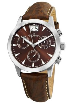 Shop for Grovana Men's Black Leather Strap Chronograph Quartz Watch. Get free delivery On EVERYTHING* Overstock - Your Online Watches Store! Modern Watches, Fine Watches, Watches For Men, Wrist Watches, Discount Watches, Online Watch Store, Mechanical Watch, Stainless Steel Case, Quartz Watch