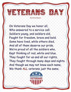 See famous Veterans Day 2018 Poems for Scholl students. Ltest Veterans Day poems collection for Elementry and high school childrens. Sing these poems on scholl function on veterans day.