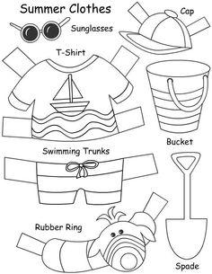 dibujos de ropa de verano para colorear - Buscar con Google