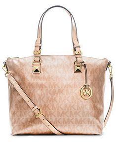 MICHAEL Michael Kors Handbag, Signature Metallic Satchel  Kass this is the purse I want! When I'm done needing my Pickle Petunia diaper bag!