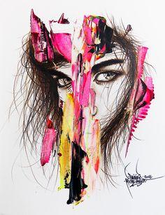 "Désir / Collection ""Apparences"" / 24 x 32 cm / Modèle : #sarahsampaio / #portrait #art #sketch #fredml #ink #dark #flash #ink #acrilyque #fluo #trash #yellow #pink #brown #yellow"