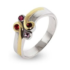 Sterling Silver and Gold Vermeil Birthstone Mothers Ring $52 #birthstone #mothers #ring