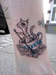 Grey Ink Cat In Teacup Tattoo by Hanadis Tattoo Skin, Tattoo You, Old Tattoos, Body Art Tattoos, Moomin Tattoo, Whimsical Tattoos, Teacup Tattoo, Design Tattoo, Tatoo