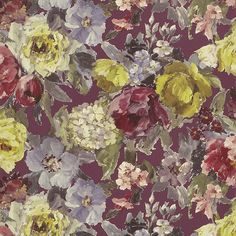 Roseto by Designers Guild - Slate - Wallpaper : Wallpaper Direct Designers Guild Wallpaper, Designer Wallpaper, Framed Wallpaper, Wallpaper Panels, Dark Grey Background, Hydrangea Not Blooming, Romantic Roses, Traditional Wallpaper, English Roses