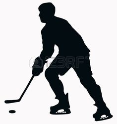 hockey: Sport Silhouette - Ice Hockey Player isolated black image on white background Silhouette Tattoos, Silhouette Design, Hockey Centerpieces, Hockey Crafts, Sports Quilts, Hockey Room, Hockey Party, Trans Art, Sports Decals