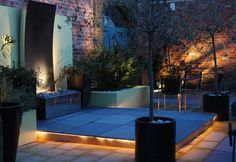 Great use of outdoor lighting and water feature