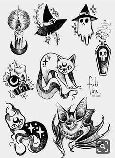 … v … – Zeichnungen – - Halloween İdeas Flash Art Tattoos, Tattoo Flash Sheet, Halloween Tattoo Flash, Halloween Drawings, Costume Halloween, Halloween Art, Halloween Decorations, Kid Costumes, Children Costumes