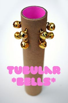 Tubular (cardboard) bells from Minieco.  All you need to make this craft is a cardboard paper towel roll, some string and jingle bells!