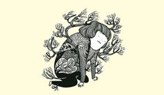 Headache by hana jang; Illustrated image of a person kneeling in discomfort.