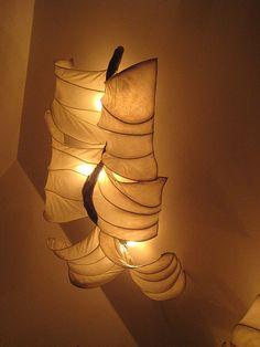 """Billow"" driftwood and handmade paper light sculpture by HiiH Lights www.HiiHLights.com"
