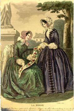 Fashion Plate: March 1850 (LA MODE) texts, march 1850, la mode, mars, fashion plates, 15 march, places, 1850 la, 1850s fashion