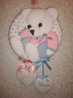 Fiocco nascita orsetto per gemellini