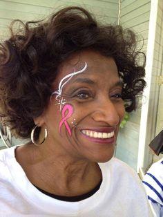 Pink Ribbon, cancer survivor - Face Painting by Jennifer VanDyke