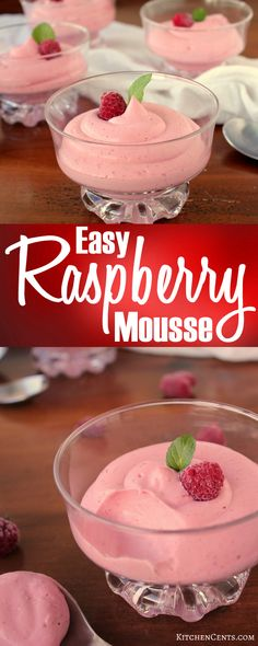 Easy Raspberry Mousse Kitchen Cents This pretty pink Raspberry Mousse is filled with creamy smooth raspberry flavors and only takes 4 ingredients A perfect treat for Val. Mothers Day Desserts, Valentine Desserts, Fancy Desserts, Just Desserts, Delicious Desserts, Dessert Recipes, Valentine Ideas, Mousse Dessert, Raspberry Mousse Cake Filling Recipe