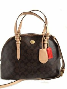 Coach Peyton Signature Leather Dome Satchel Brown 26184 Branddot