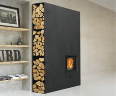 Modern take on fireplace & wood storage!