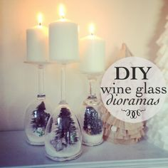 Wine glass dioramas Could do these for all different seasons, or even with pictures in them!