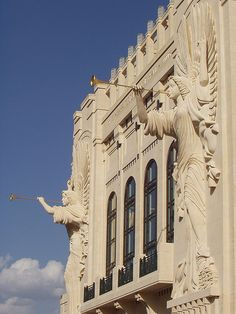 Glorious trumpeting angels carved into the facade of Bass Performance Hall, Fort Worth TX
