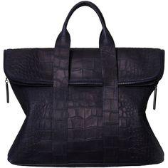 3.1 Phillip Lim Navy Croc 31 Hour Bag found on Polyvore