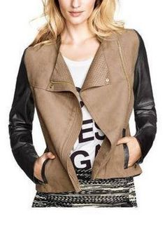 Looks I LOVE! Great Weekend Casual Outfit! Black and Khaki Color Block Jacket With Asymmetric Zip #Moto #Jacket #Asymmetrical #Zipper #Weekend #Casual #Outfit #Ideas #Trends