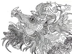 Digital Dragon Art Coloring Page by ShadoWind on Etsy