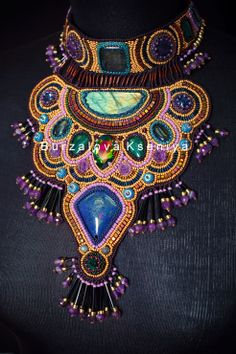 Necklace of beads and natural stones.